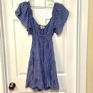 Bailey blue striped off shoulder dress medium